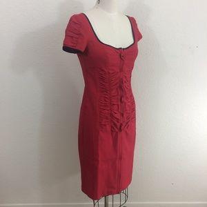 Nanette Lepore Red Ruched Short Sleeve Dress